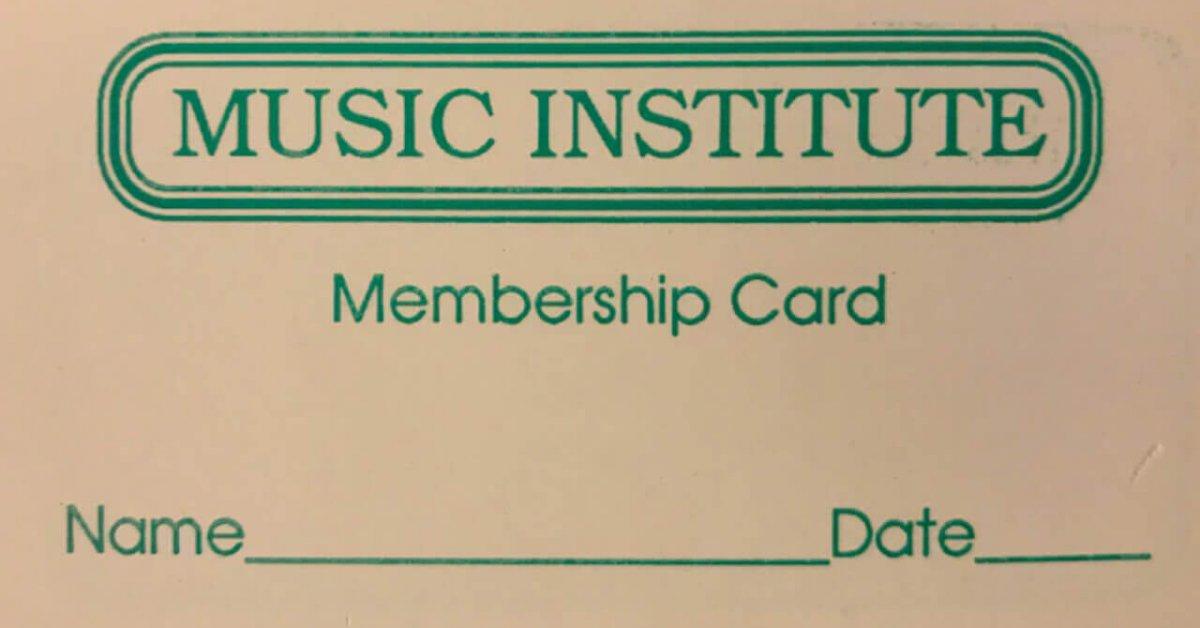 music insititute membership card